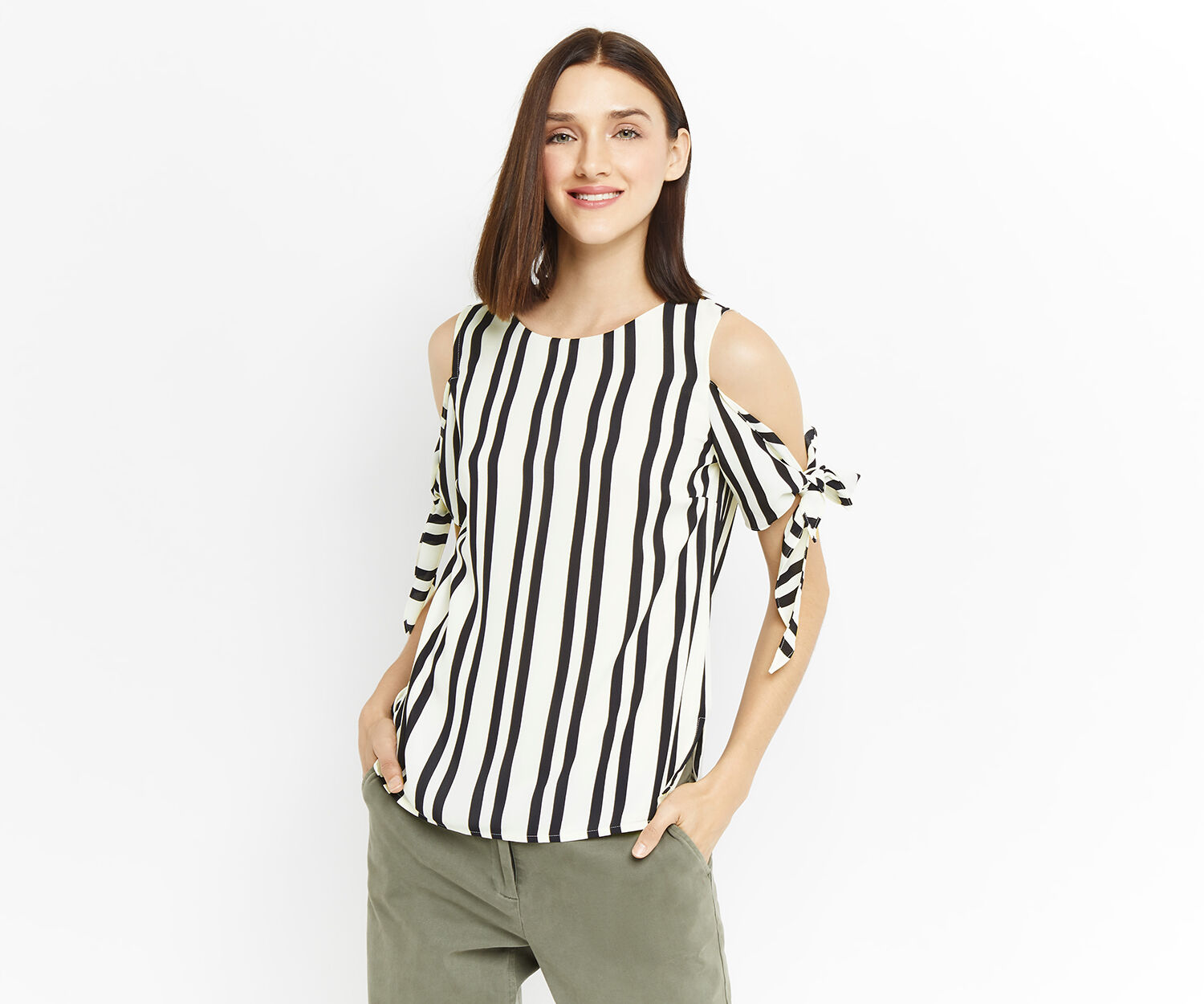 Oasis, LONG TIE SHOULDER STRIPE TOP Black and White 1