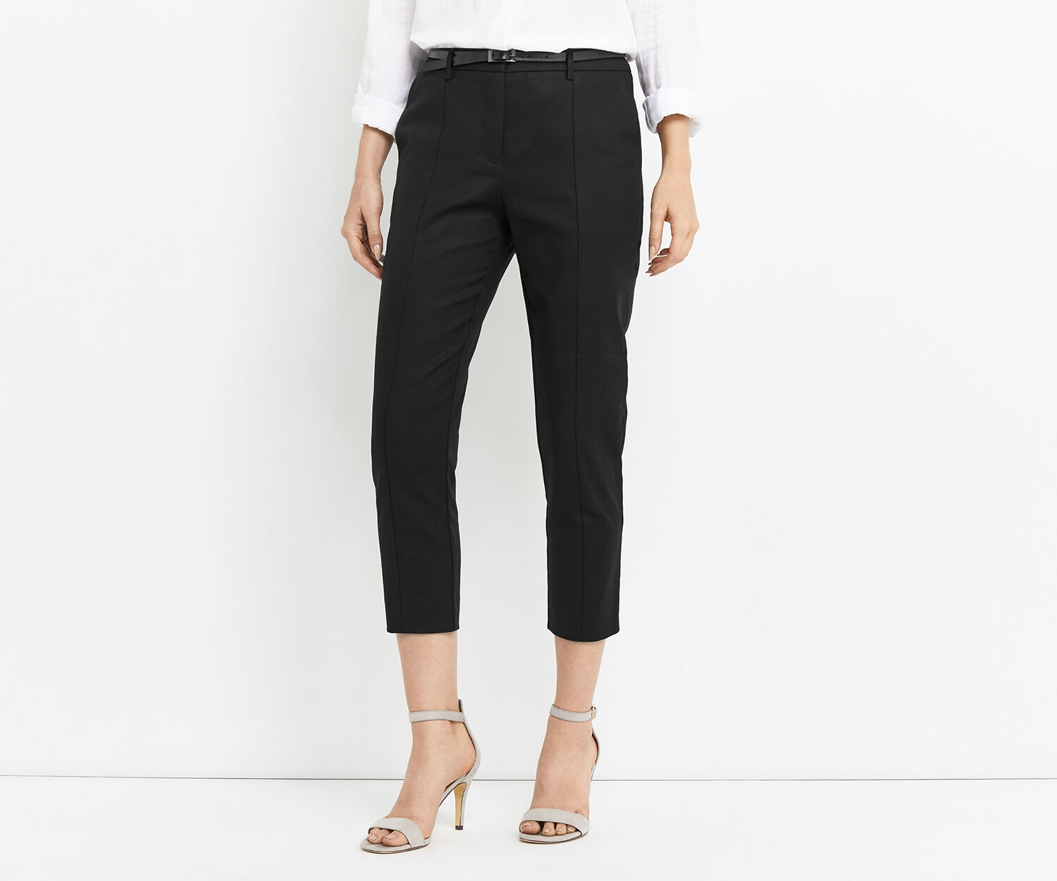 Oasis, COMPACT COTTON CAPRI TROUSER Black 1