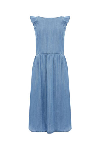 Oasis, RUFFLE MIDI DRESS Denim 0
