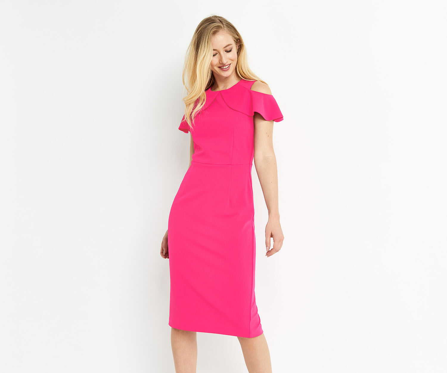 Oasis, RUFFLE COLD SHOULDER DRESS Bright Pink 1