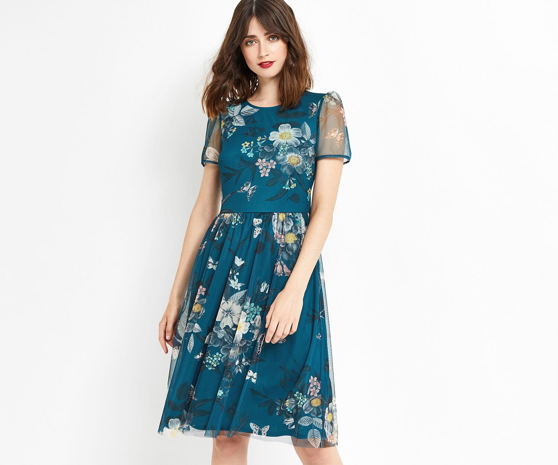 Oasis, MARIE MESH DRESS LONGER LENGTH Turquoise 1
