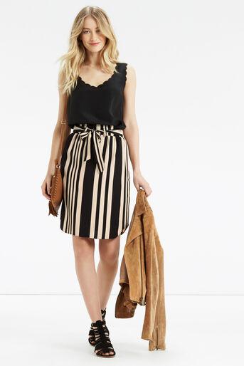 Oasis, Paperbag Stripe Skirt Multi Black 2