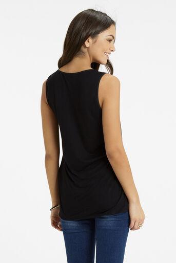 Oasis, Embroidered Trim Vest Black 3