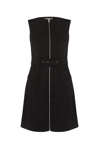 Oasis, TEXTURED ZIP FRONT DRESS Black 0