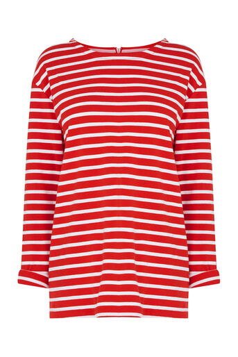 Oasis, Stripe Long Sleeved Top Multi Red 0