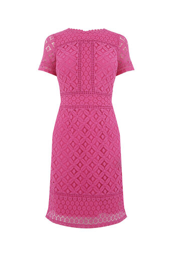 Oasis, LONG ISLA LACE SHIFT Deep Pink 0