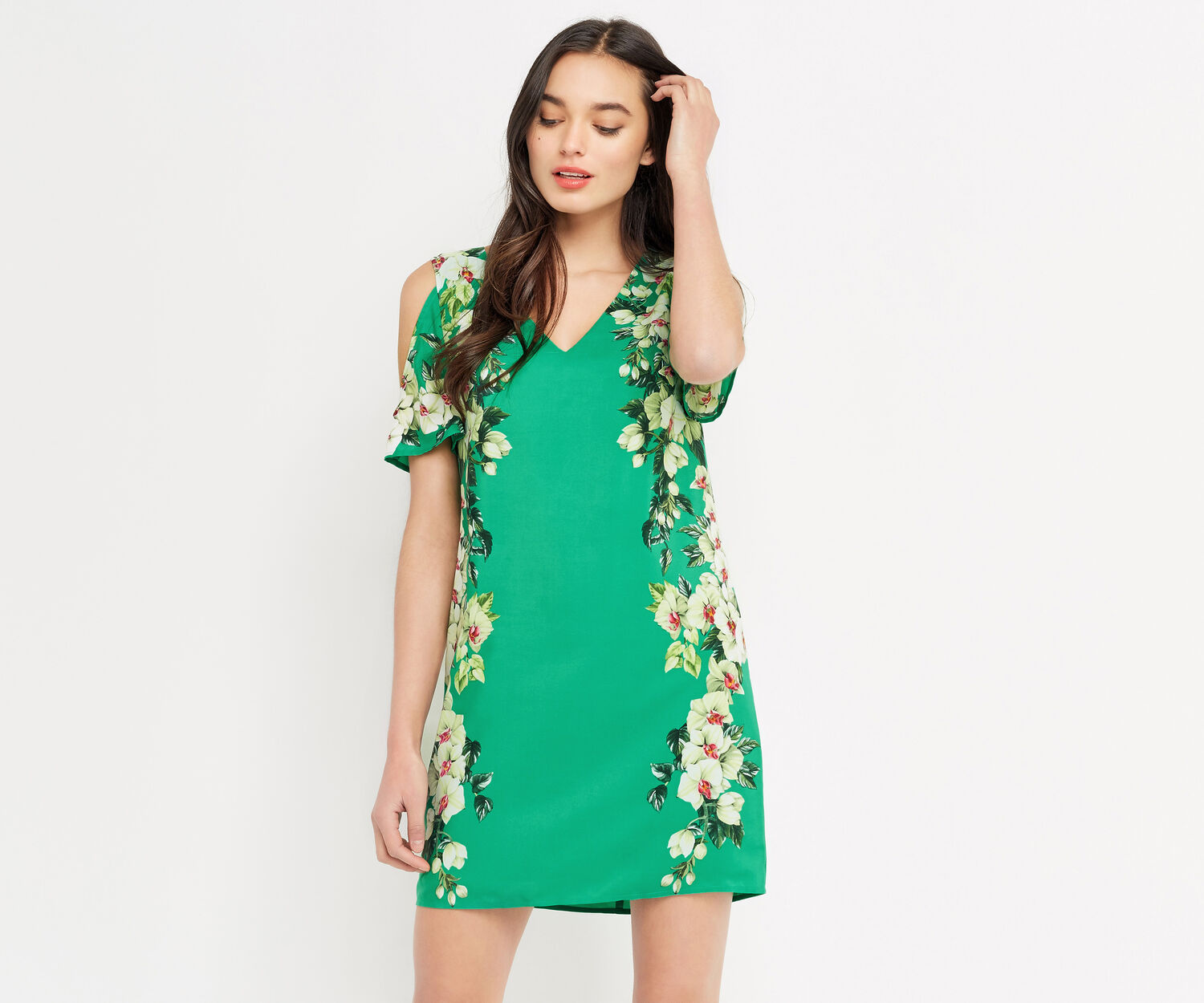 Oasis, TROPICAL COLD SHOULDER DRESS Multi Green 1