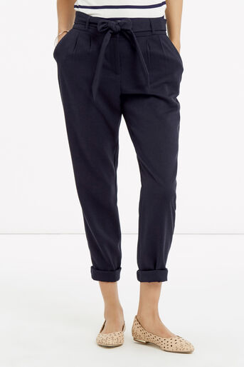 Oasis, Belted Peg Trousers Navy 1