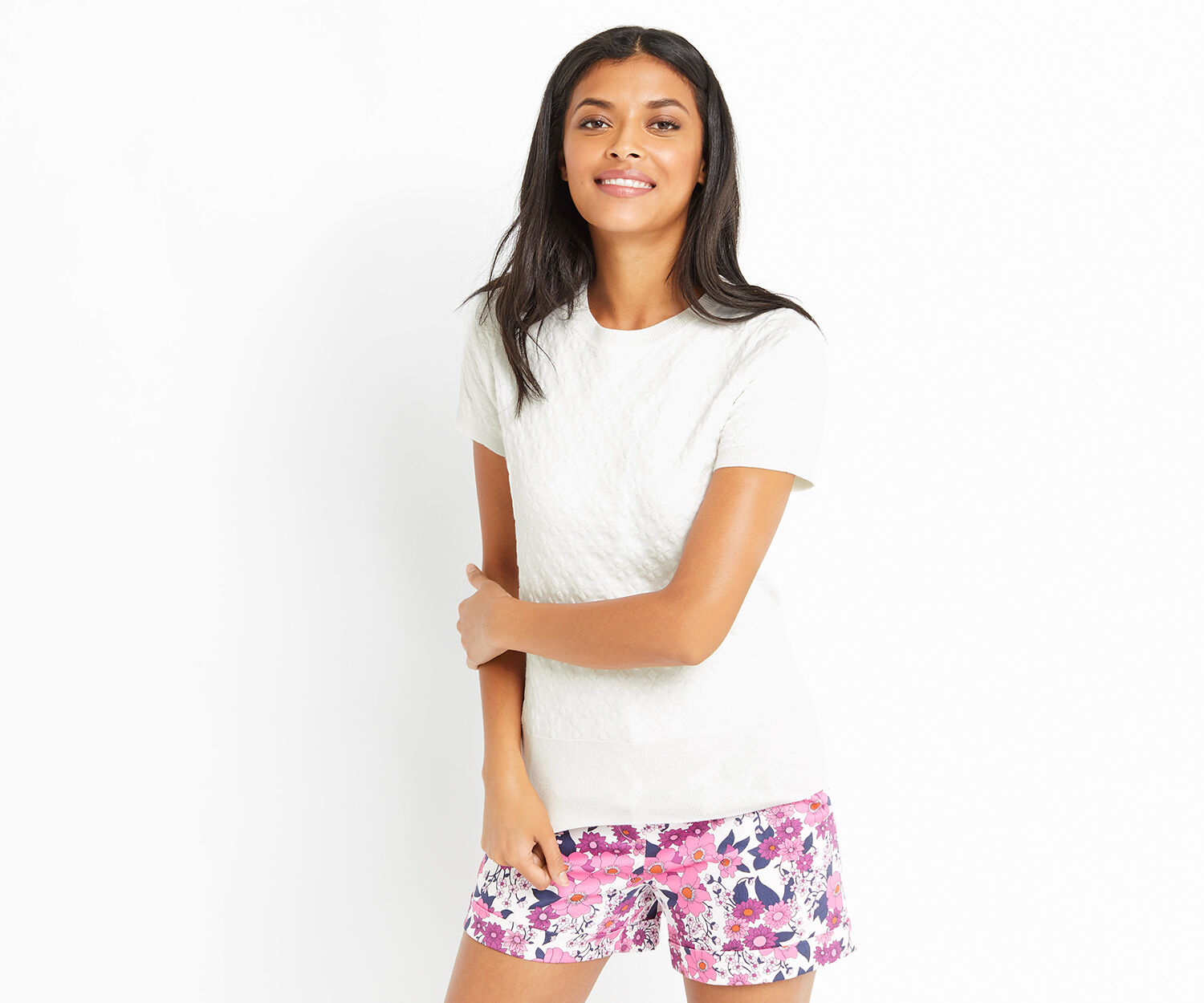 Oasis, JACQUARD FLORAL KNIT Off White 1