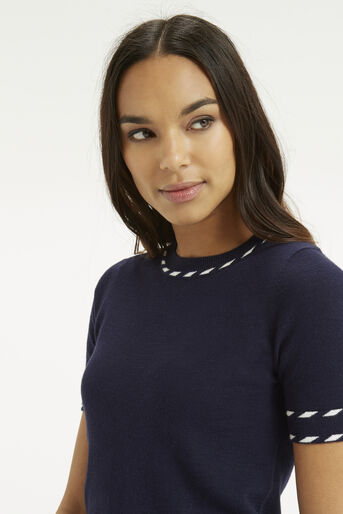 Oasis, Cute Tipped Crew Top Navy 4