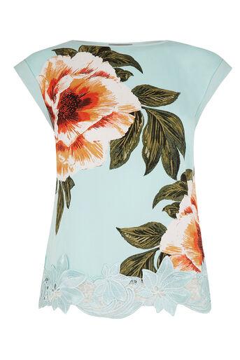 Oasis, Floral Lace Trim T-Shirt Turquoise 0