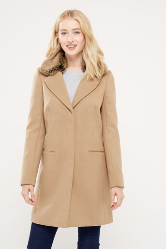 Oasis, FELICITY FORMAL FUR COLLAR COA Camel 1