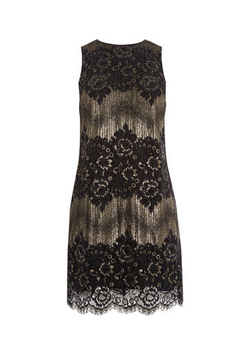 Oasis, SHIMMER LACE SHIFT DRESS Multi 0
