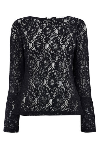 Oasis, BELL SLEEVE LACE TOP Black 0