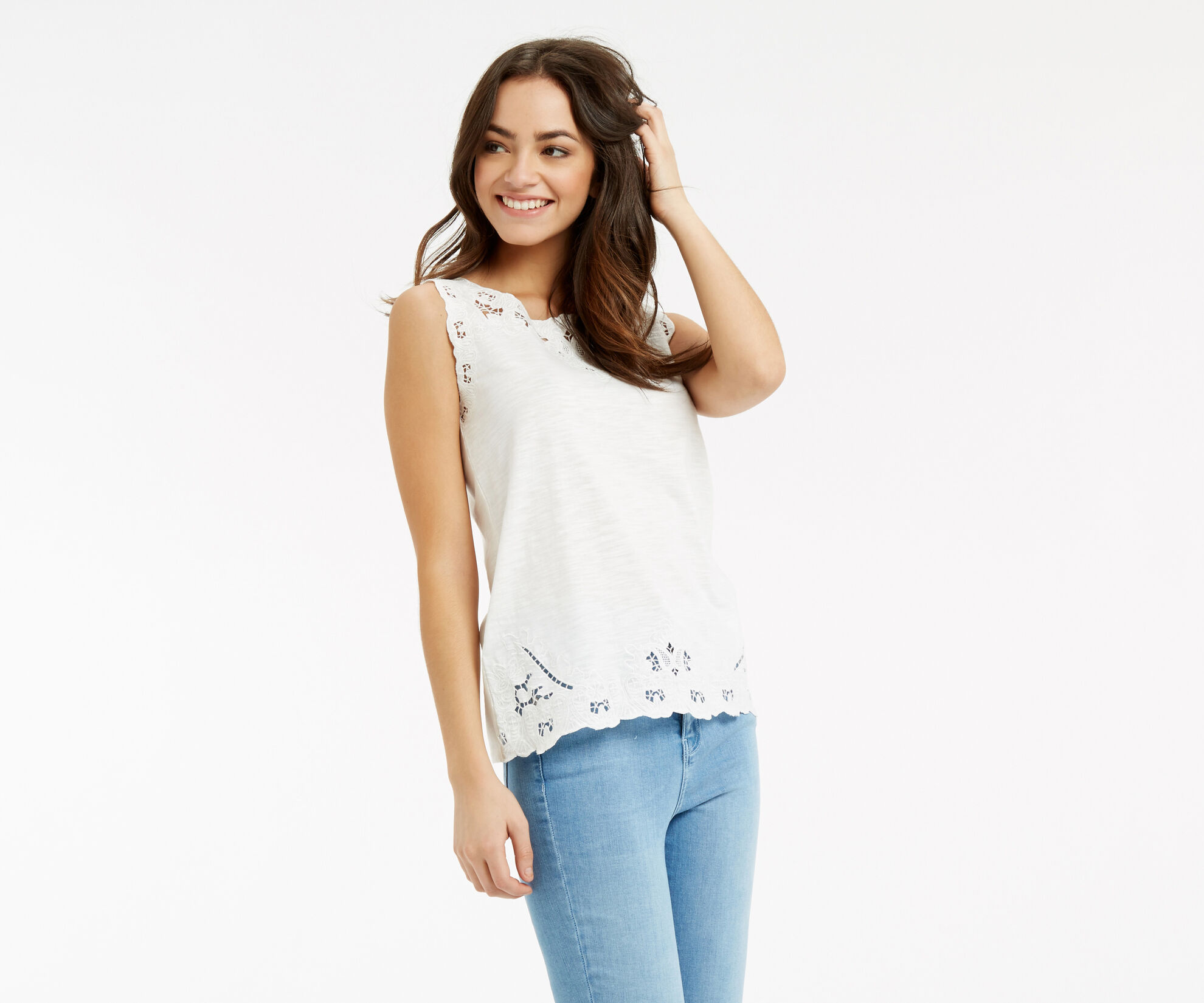 Oasis, Cutout Broderie Top White 1