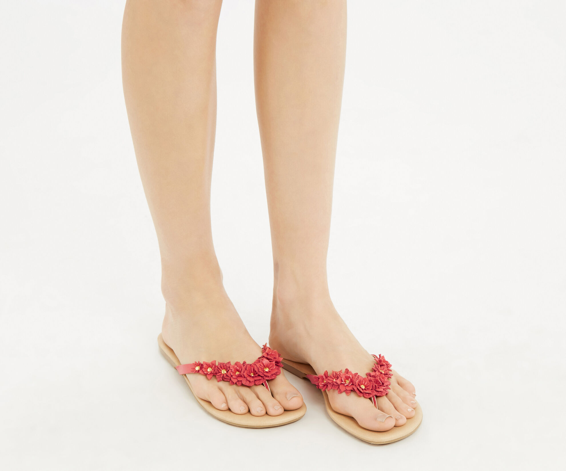 Oasis, Leather Flower Flip Flops Coral 1