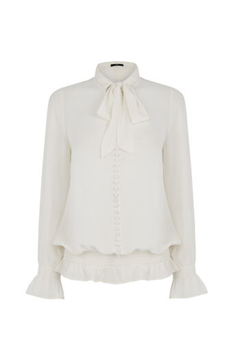 Oasis, Pussybow Blouse Off White 0