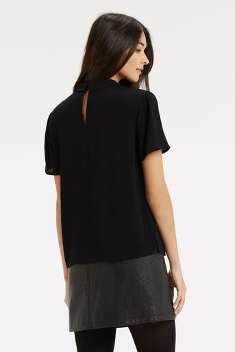 Oasis, Embroidered Collar Top Black 3