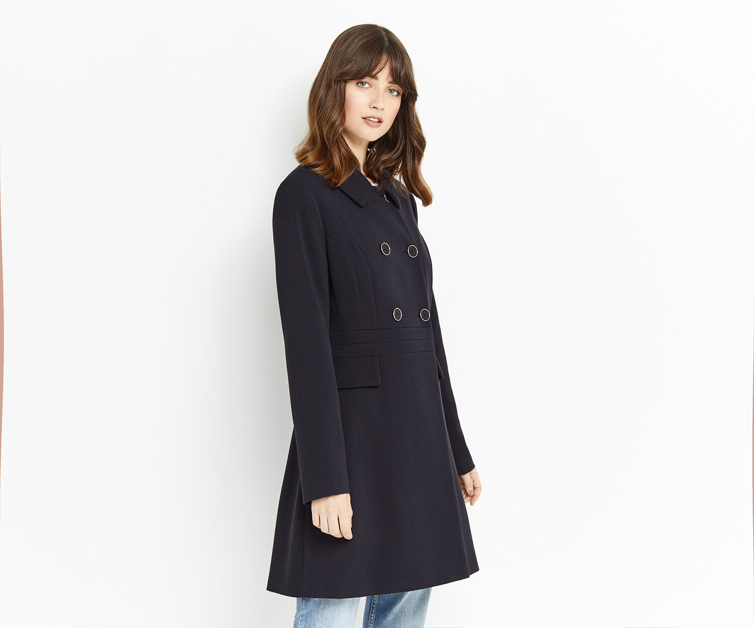 Oasis, DOUBLE BREASTED PRINCESS COAT Navy 1