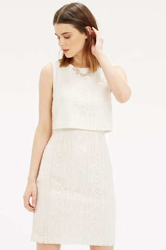 Oasis, Metallic Lace Shift Dress Off White 1