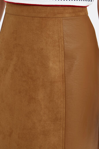 Oasis, SUEDETTE AND PU LEATHER SKIRT Tan 4