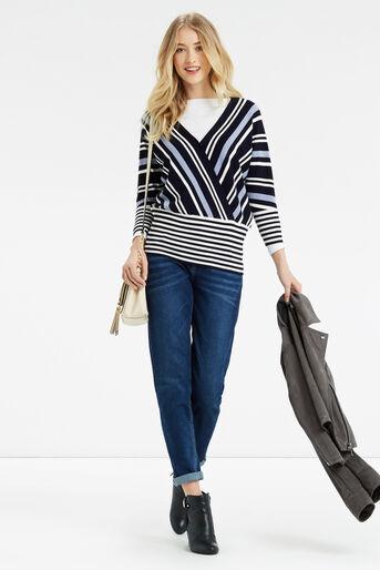 Oasis, Briony Stripe Knit Multi Blue 2