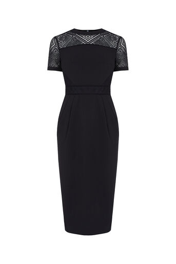 Oasis, Lace Trim Pencil Dress Black 0