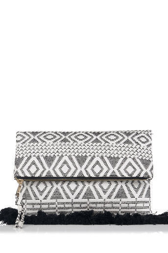 Oasis, Summer Aztec Clutch Black and White 0