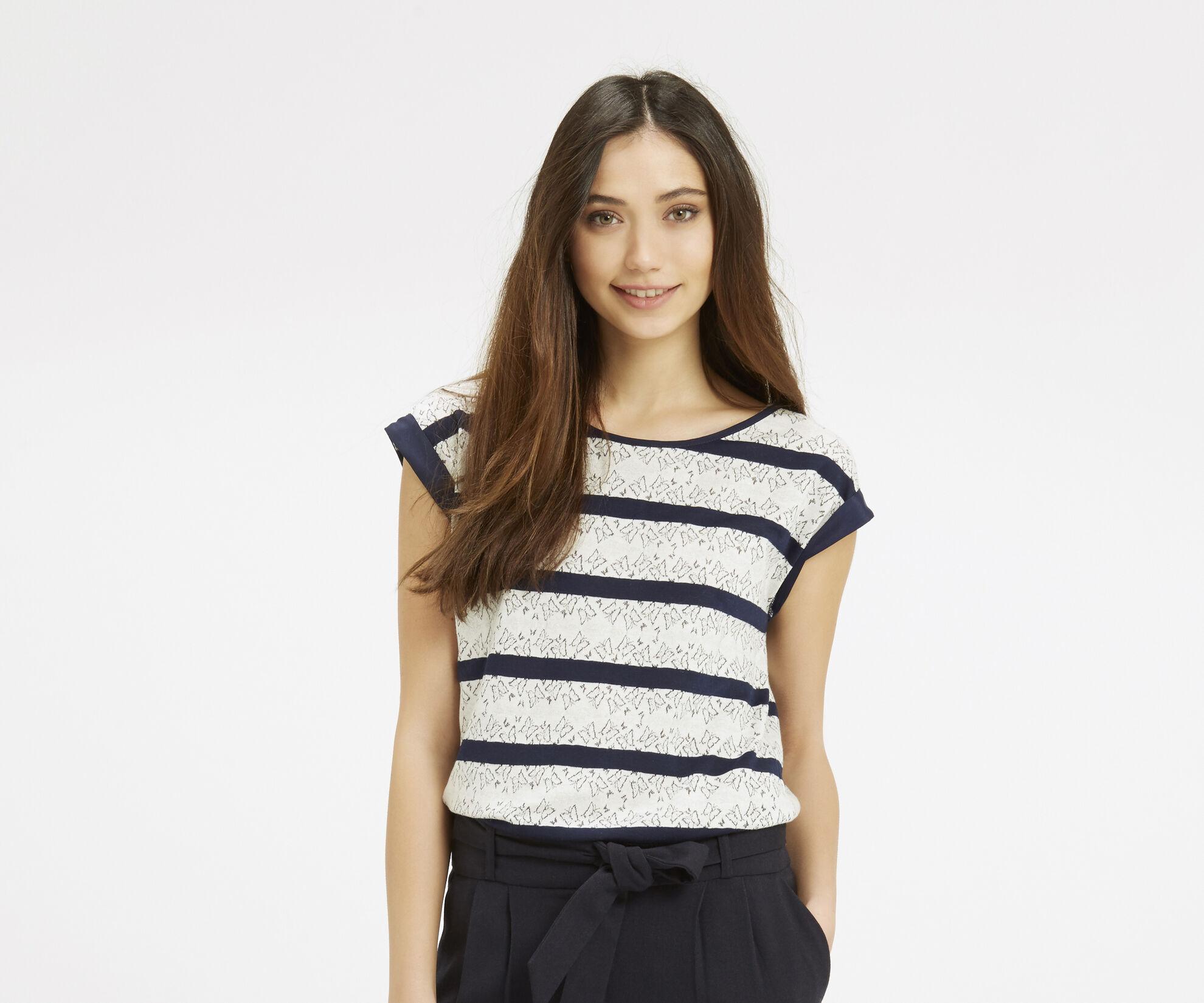 Oasis, Butterfly Stripe T-Shirt Navy 1