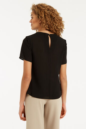 Oasis, Frill Detail T-Shirt Black 3