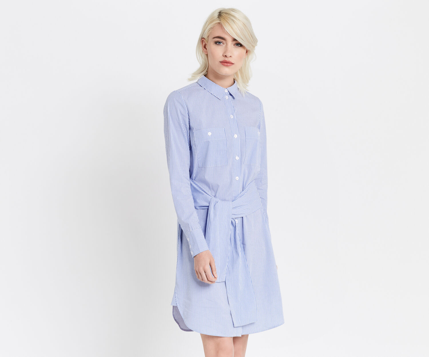 Oasis, TICKING STRIPE SHIRTDRESS Multi Blue 1