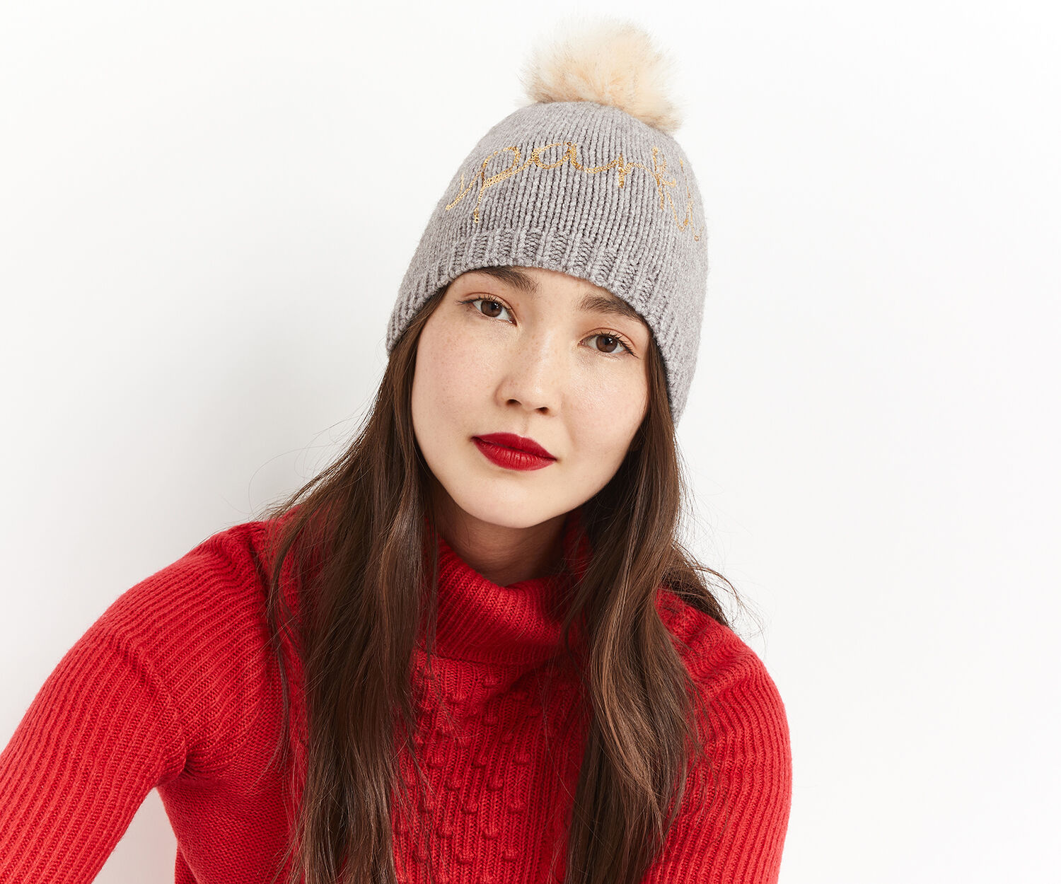 Oasis, SPARKLE EMBROIDERED BEANIE Mid Grey 1