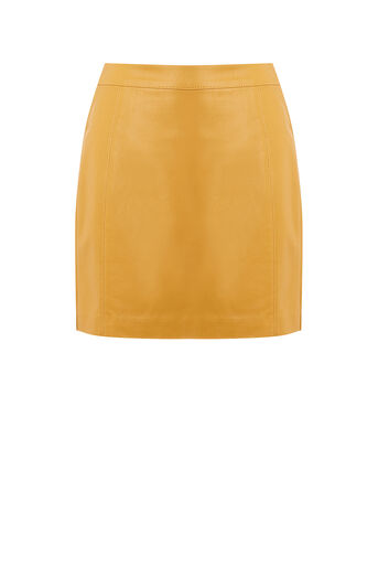 Oasis, FAUX LEATHER SEAMED MINI SKIRT Ochre 0