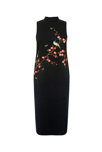 Oasis, OSAKA EMBROIDERED SATIN DRESS Multi 0