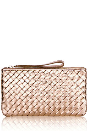 Oasis, LEATHER WEAVE ZIP TOP PURSE Gold 0