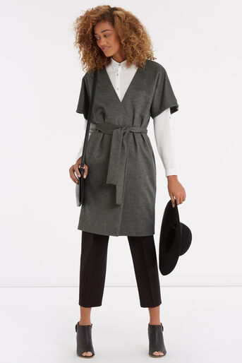 Oasis, Lexi Short Sleeved Coat Mid Grey 2