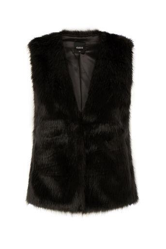 Oasis, Short Glam Fur Gillet Black 0