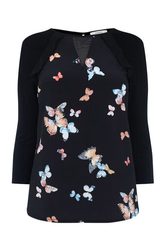 Oasis, BUTTERFLY WOVEN FRONT BLOUSE Black 0