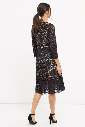 Oasis, LACE SLEEVE MIDI DRESS Black 3