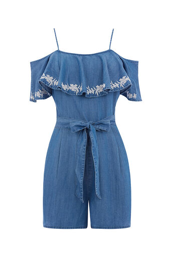 Oasis, FRILL EMBROIDERED PLAYSUIT Denim 0