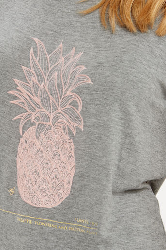 Oasis, Embroidered Pineapple T-Shirt Mid Grey 4