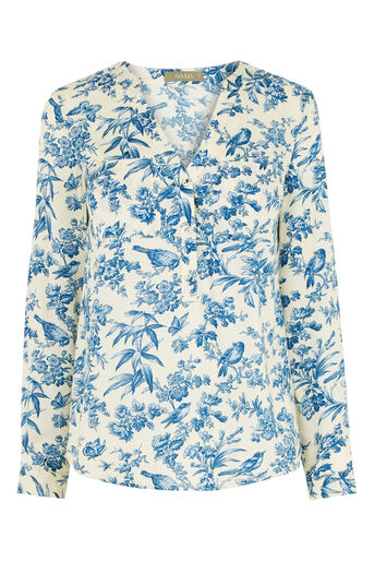 Oasis, Rosey Bird Viscose Shirt Multi Natural 0
