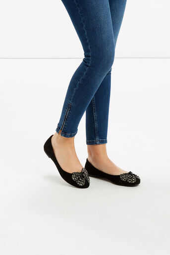 Oasis, Sparkle Bow Ballet Pumps Black 1