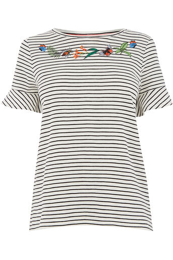 Oasis, ZSL EMBROIDERED STRIPE BUG TEE Multi 0