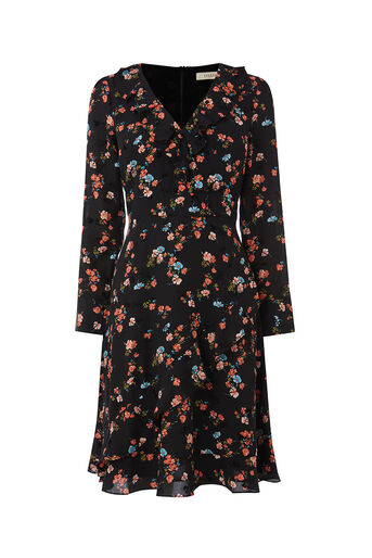 Oasis, FLOCKED RUFFLE DRESS LL Multi Black 0