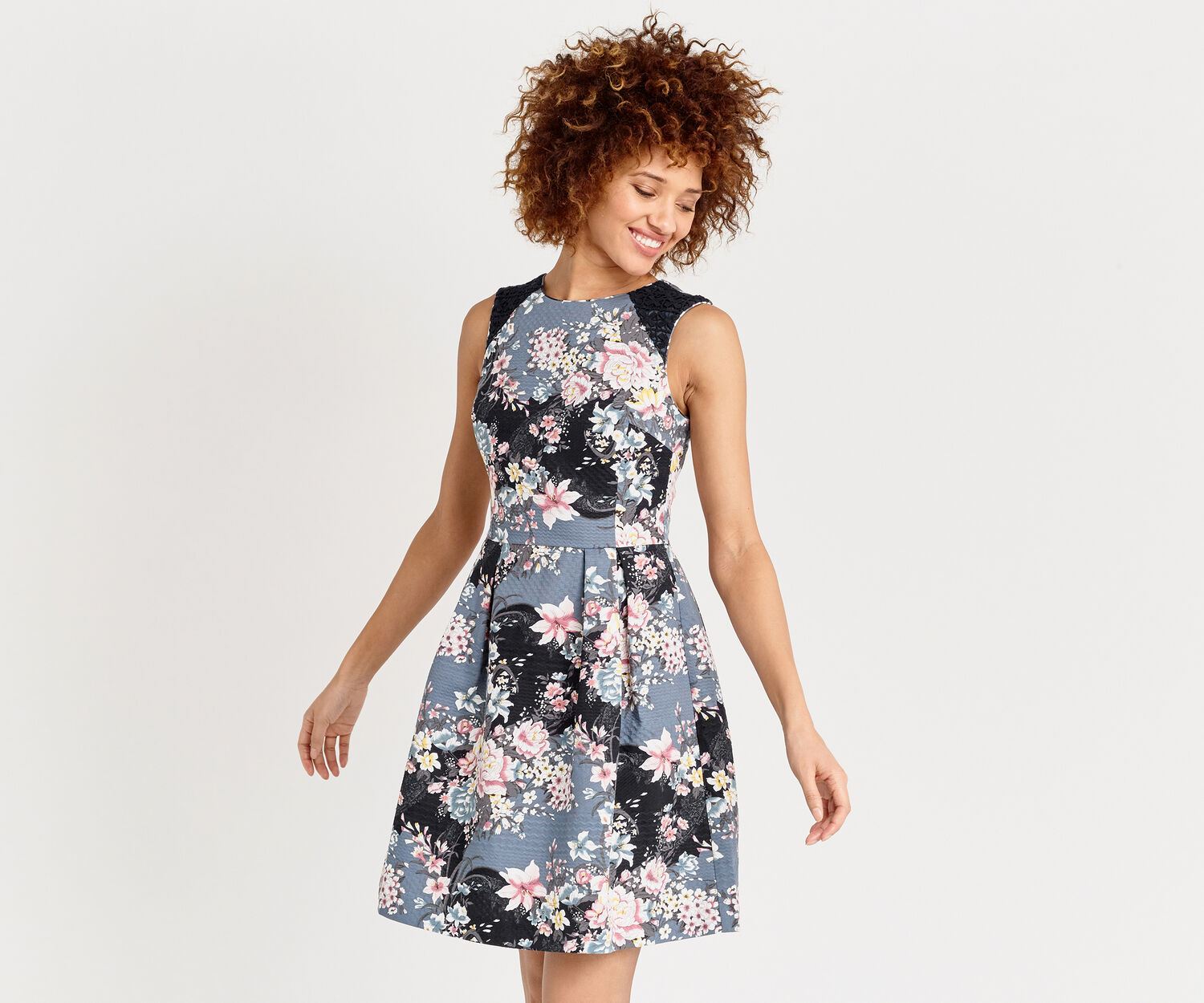Oasis, LOTUS PRINT SKATER DRESS Multi 1