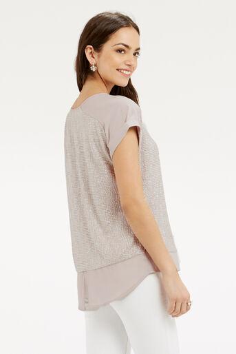 Oasis, Crinkle Sparkle T-Shirt Mid Neutral 3