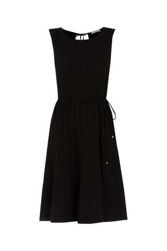 Oasis, Cheesecloth Tiered Dress Black 0