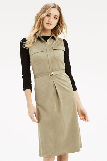 Oasis, Suedette Midi Shirt Dress Light Neutral 1