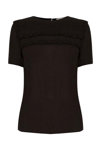 Oasis, Frill Detail T-Shirt Black 0